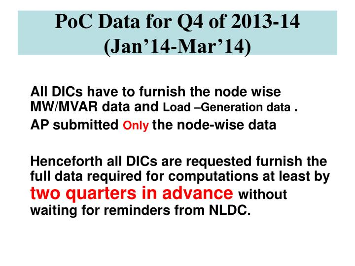 PoC Data for Q4 of 2013-14 (Jan'14-Mar'14)
