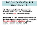 poc data for q4 of 2013 14 jan 14 mar 14