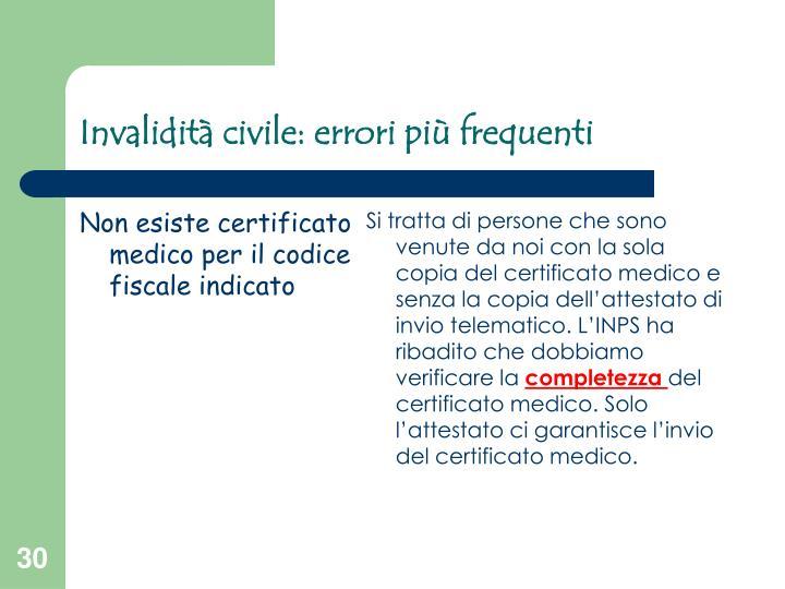 Non esiste certificato medico per il codice fiscale indicato
