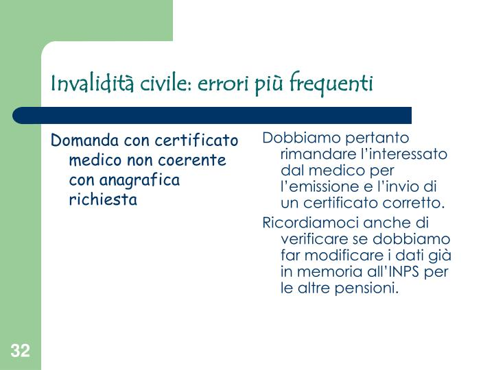 Domanda con certificato medico non coerente con anagrafica richiesta