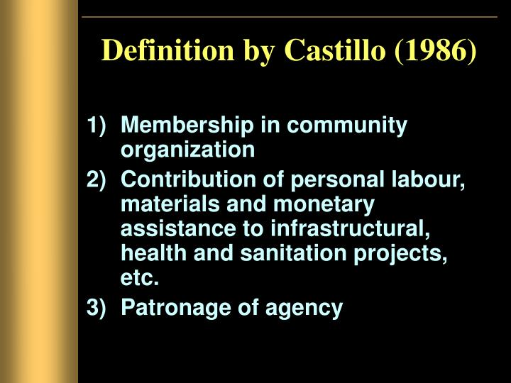 Definition by Castillo (1986)