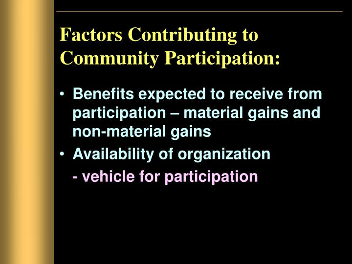 Factors Contributing to Community Participation: