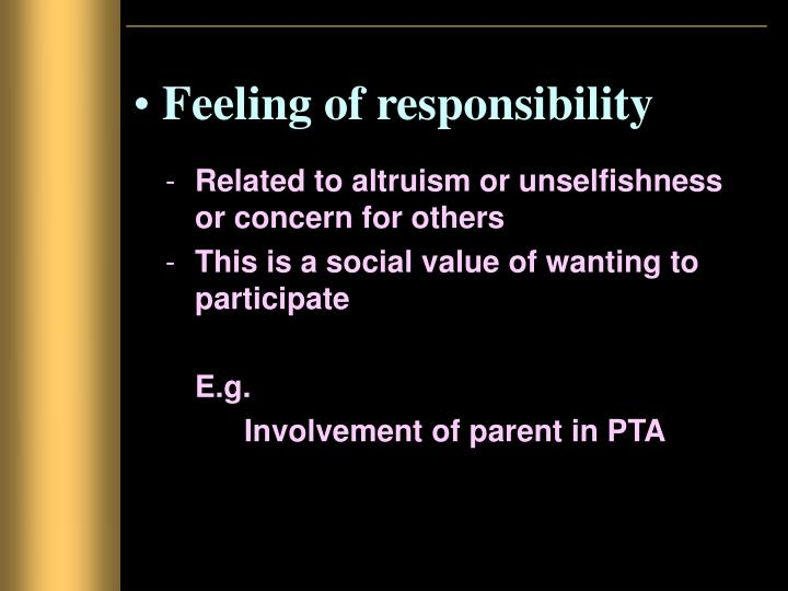 Feeling of responsibility