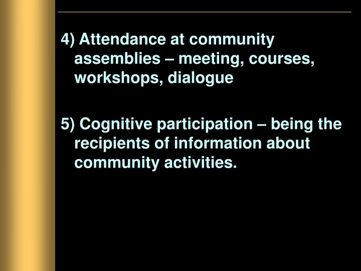 4) Attendance at community assemblies – meeting, courses, workshops, dialogue