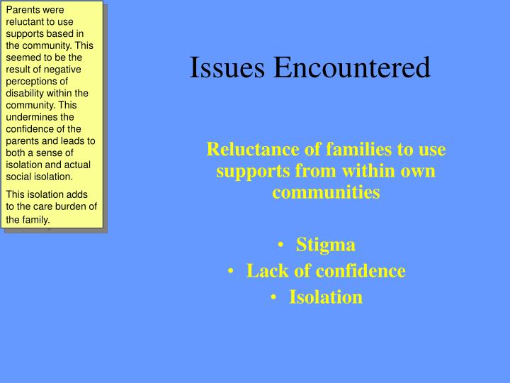 Parents were reluctant to use supports based in the community. This seemed to be the result of negative perceptions of disability within the community. This undermines the confidence of the parents and leads to both a sense of isolation and actual social isolation.