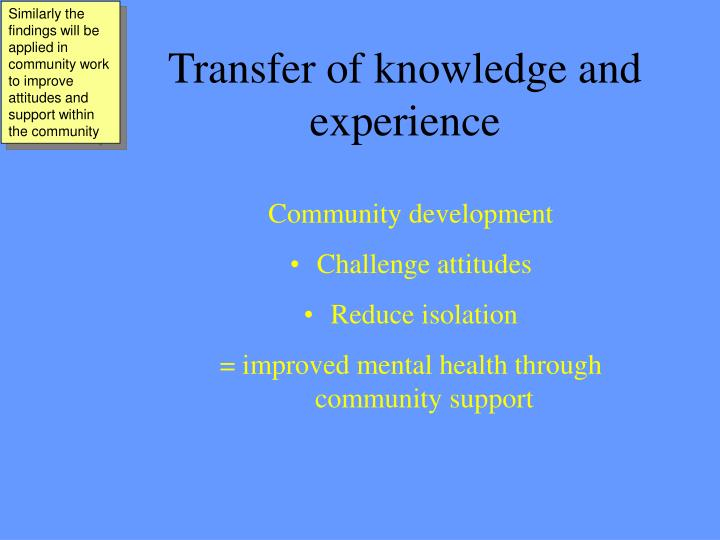 Similarly the findings will be applied in community work to improve attitudes and support within the community