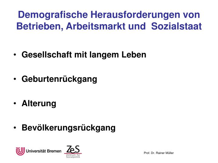 Demografische Herausforderungen von Betrieben, Arbeitsmarkt und  Sozialstaat