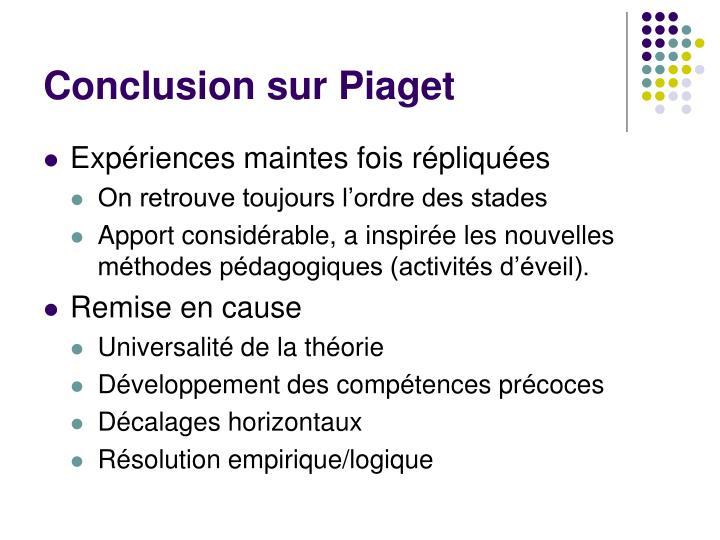 Conclusion sur Piaget
