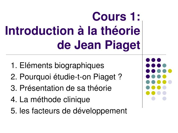Cours 1: