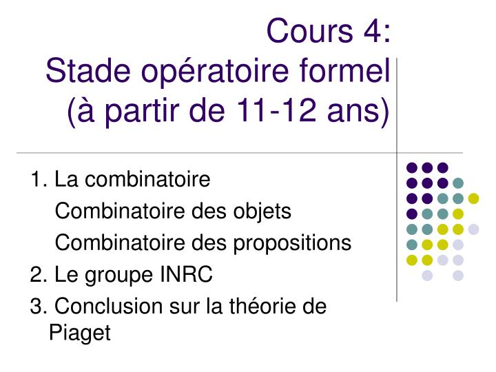 Cours 4: