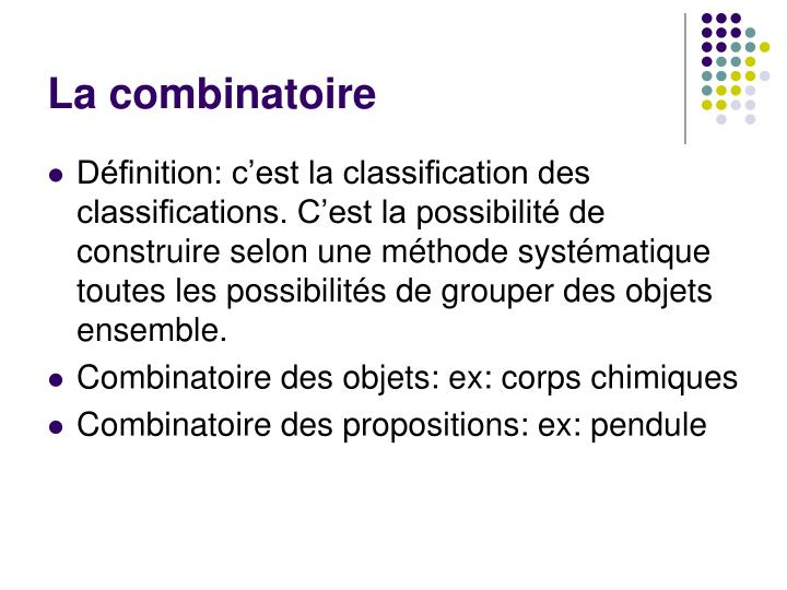 La combinatoire