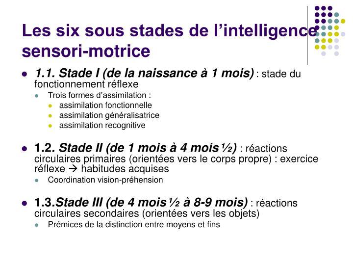 Les six sous stades de l'intelligence sensori-motrice