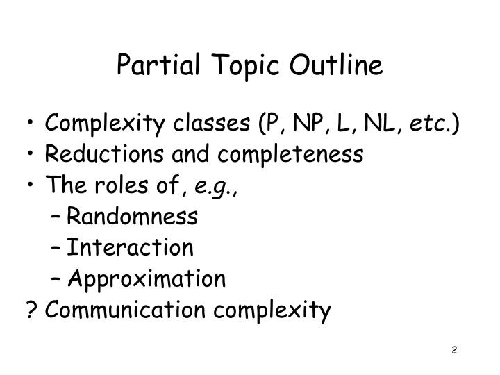 Partial topic outline