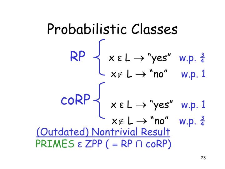 Probabilistic Classes
