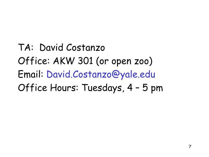 TA:  David Costanzo