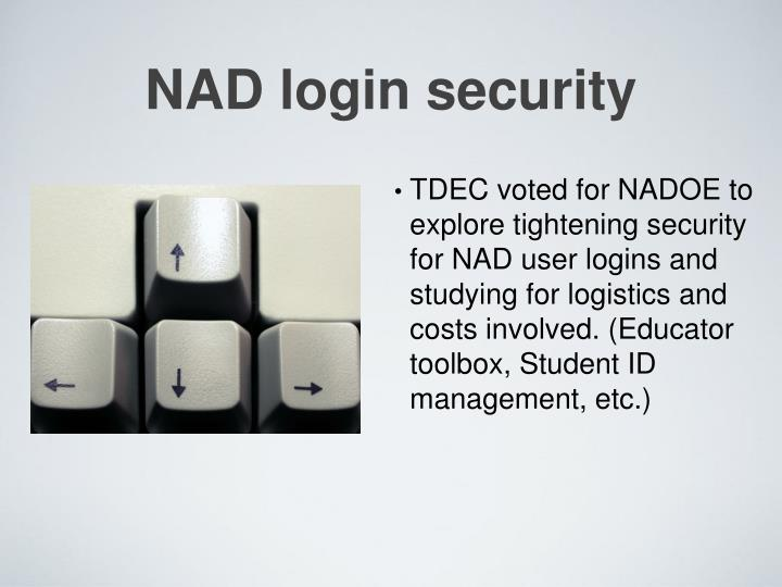 NAD login security