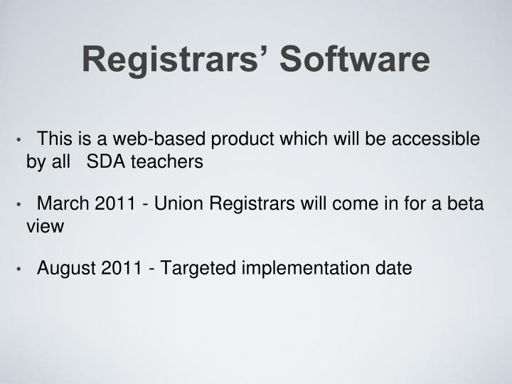 Registrars' Software