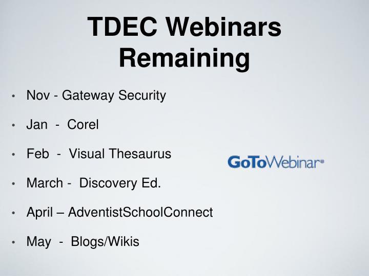 TDEC Webinars