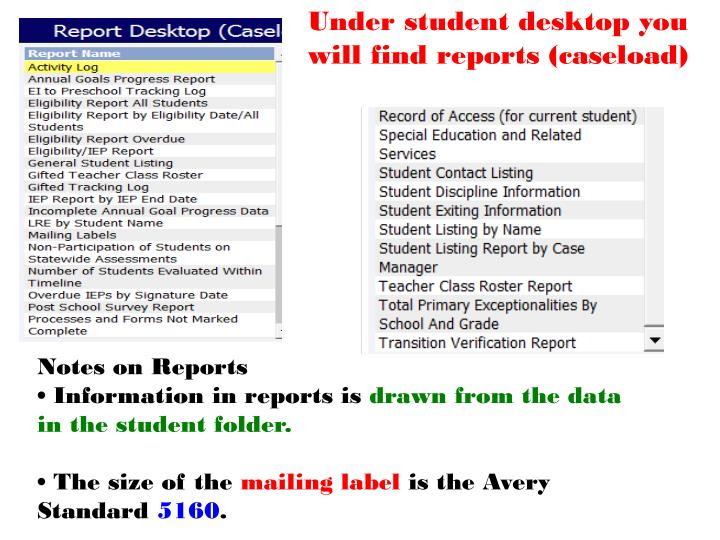 Under student desktop you will find reports (caseload)