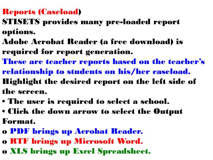 Reports (Caseload
