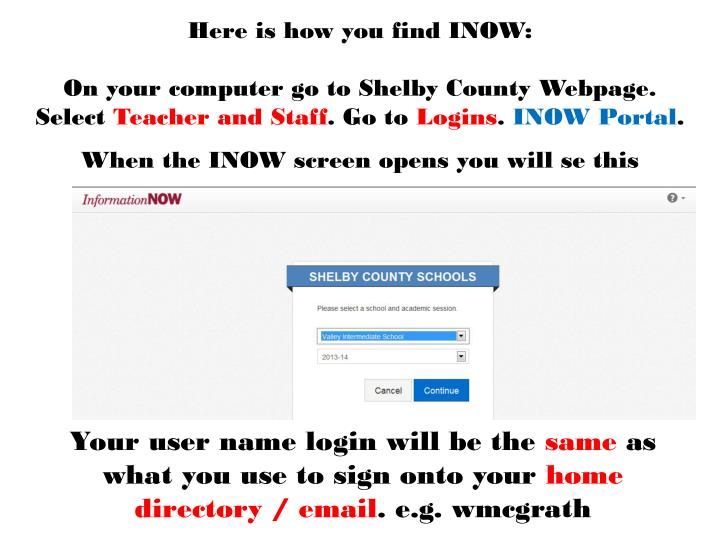 Here is how you find INOW: