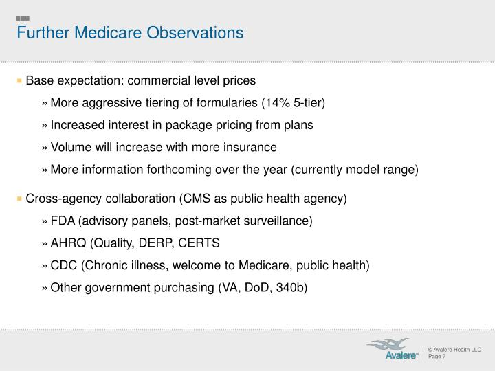 Further Medicare Observations