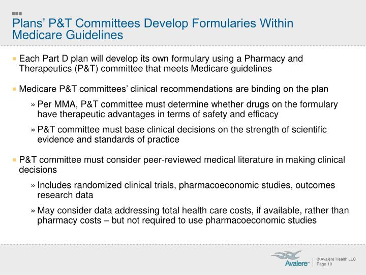 Plans' P&T Committees Develop Formularies Within Medicare Guidelines
