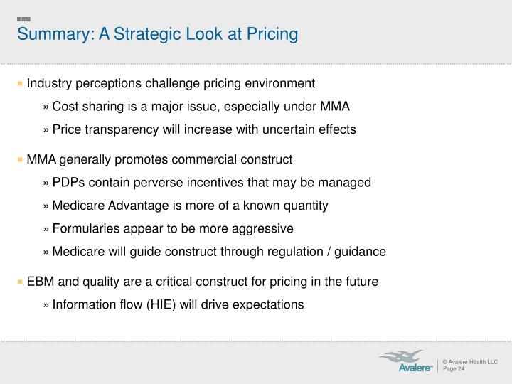 Summary: A Strategic Look at Pricing