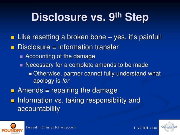 Disclosure vs. 9