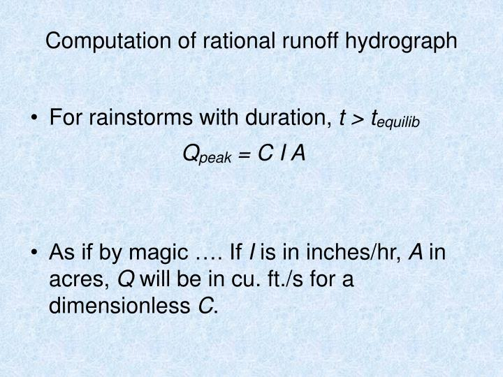 Computation of rational runoff hydrograph