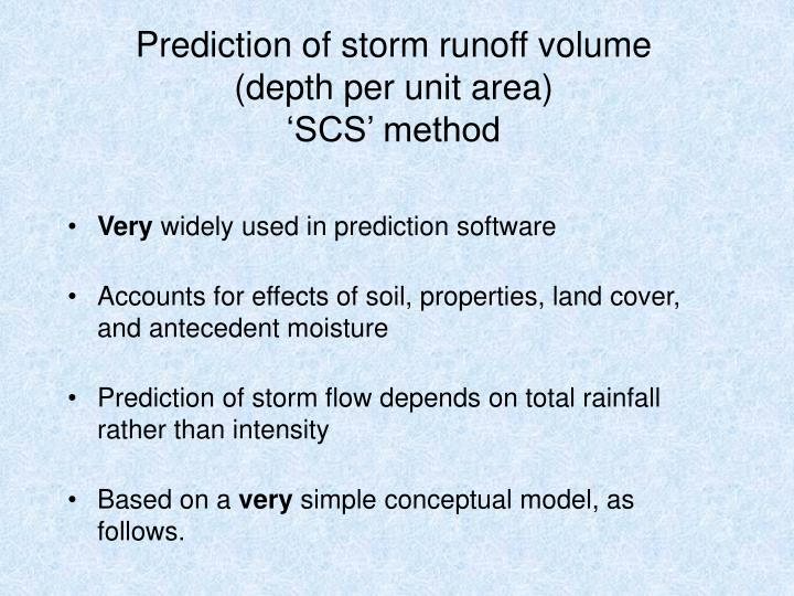 Prediction of storm runoff volume