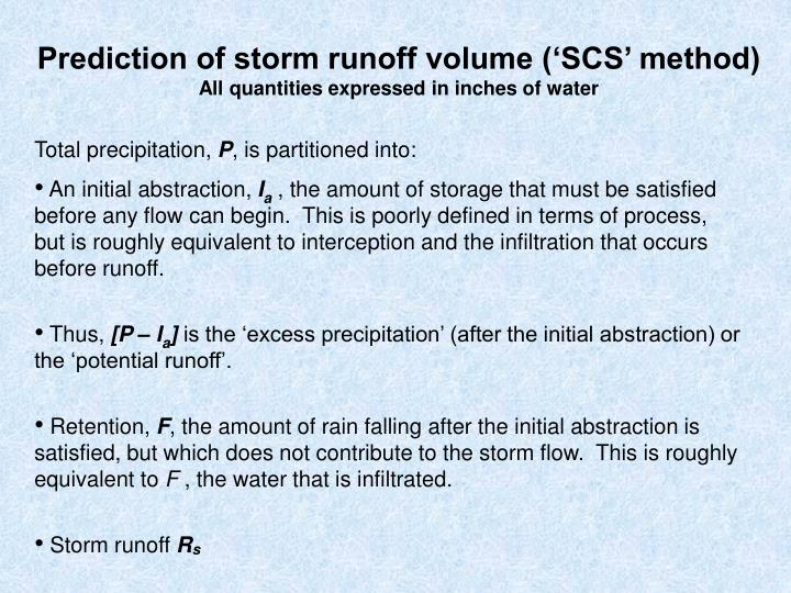 Prediction of storm runoff volume ('SCS' method)