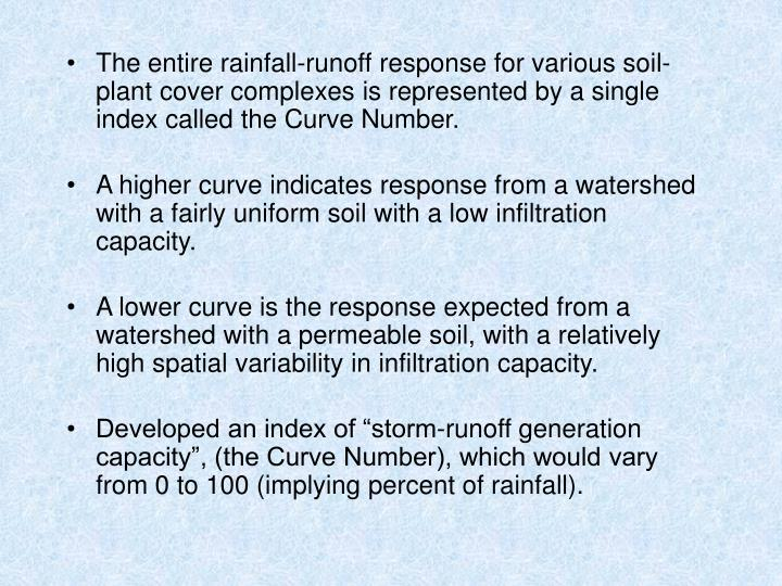The entire rainfall-runoff response for various soil-plant cover complexes is represented by a single index called the Curve Number.