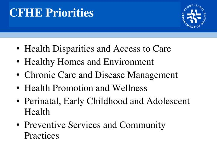 CFHE Priorities