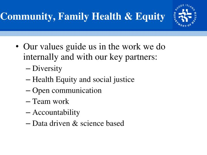 Community, Family Health & Equity