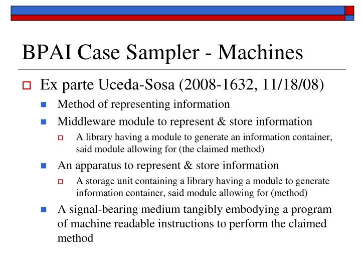 BPAI Case Sampler - Machines