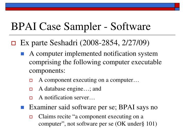 BPAI Case Sampler - Software