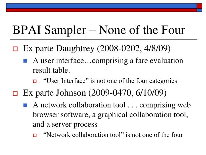BPAI Sampler – None of the Four