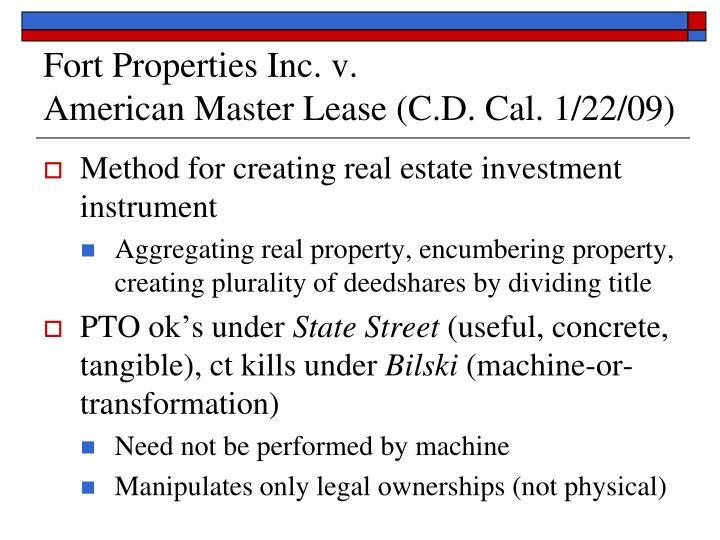Fort Properties Inc. v.