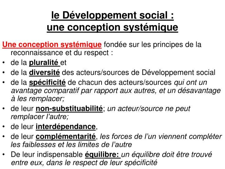 le Développement social :