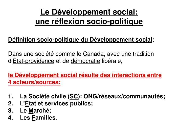 Le Développement social: