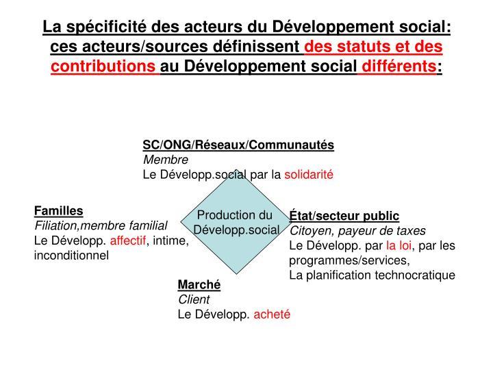 La spécificité des acteurs du Développement social: ces acteurs/sources définissent