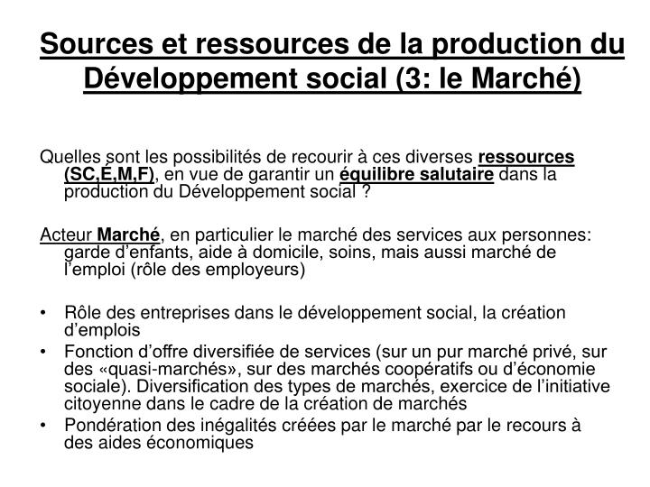 Sources et ressources de la production du Développement social (3: le Marché)