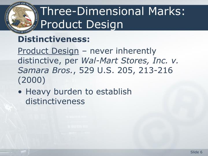 Three-Dimensional Marks:  Product Design