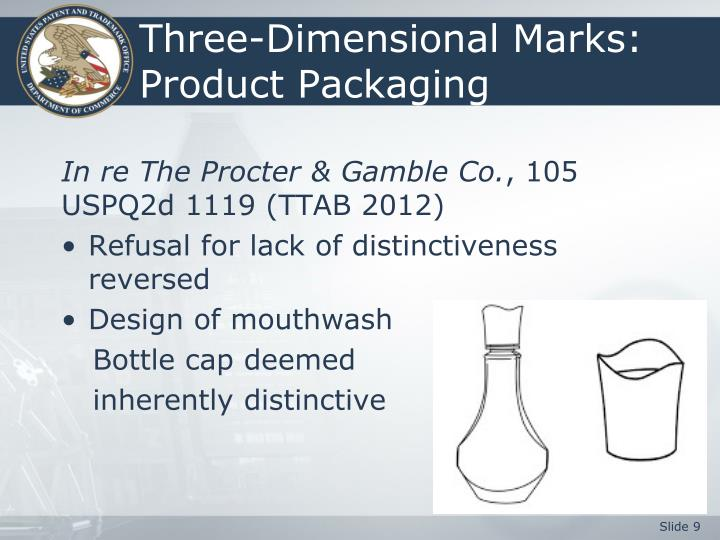 Three-Dimensional Marks:  Product Packaging