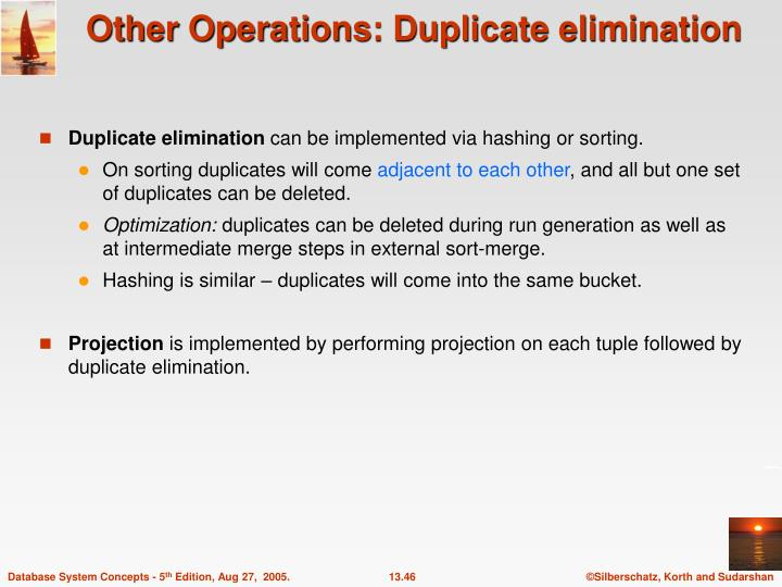 Other Operations: Duplicate elimination