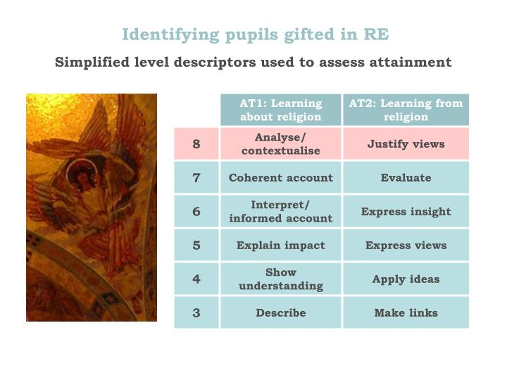 Identifying pupils gifted in RE