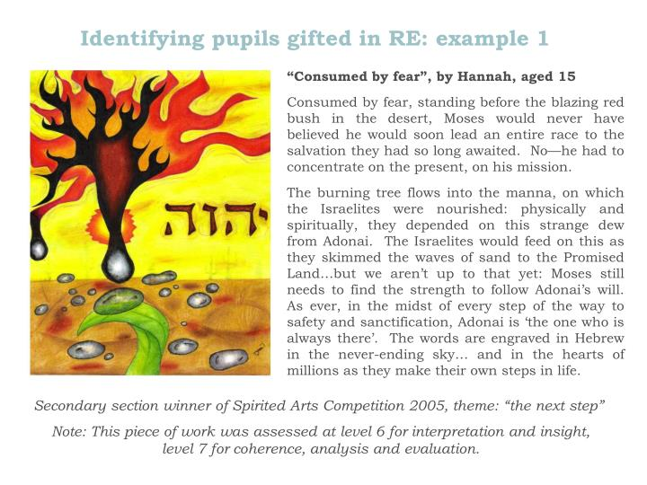 Identifying pupils gifted in RE: example 1