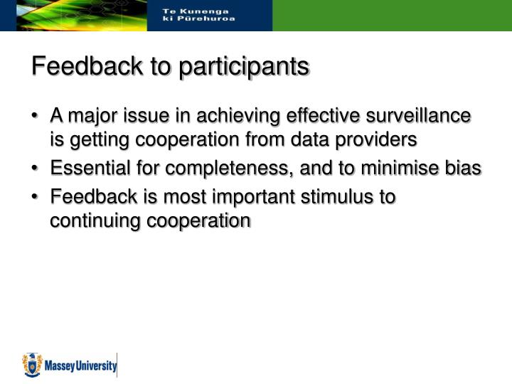 Feedback to participants
