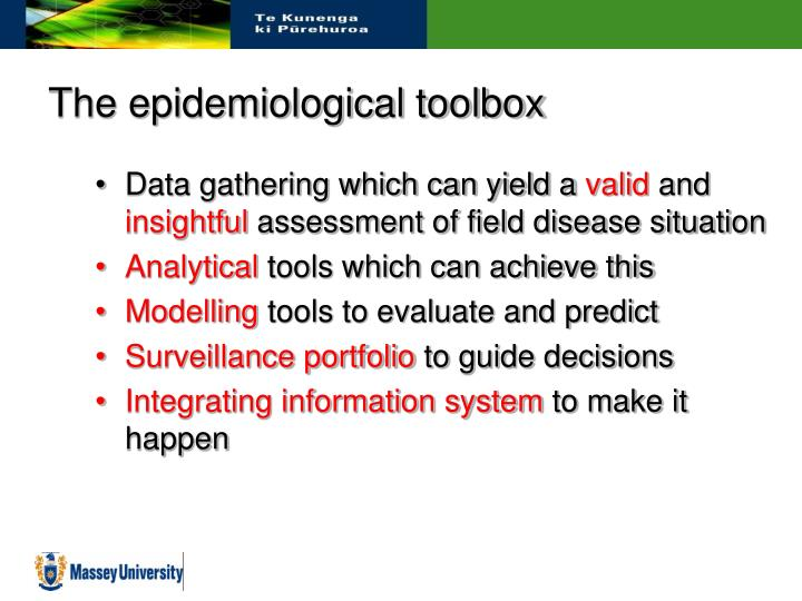 The epidemiological toolbox